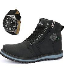 bota coturno casual rebento cano mã©dio preto com relã³gio - preto - masculino - dafiti