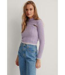 trendyol stickad topp - purple
