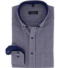 eterna shirt comfort fit donkerblauw wit geruit
