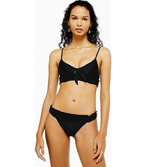black broderie tie side bikini bottoms - black