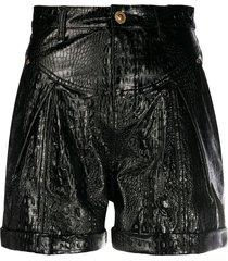 chiara ferragni leather look shorts - black
