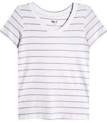 camiseta v a rayas color gris, talla l