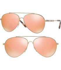 women's burberry 57mm mirrored aviator sunglasses - gold/ brown