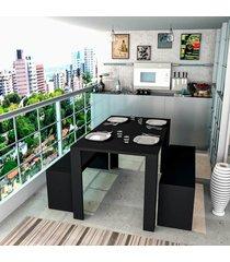 conjunto mesa jantar 2 bancos preto lilies mã³veis - preto - dafiti