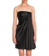 dolce & gabbana women's strapless draped stretch-satin mini dress - black - size 38 (4)