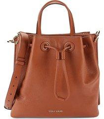 cole haan women's leather bucket bag - british tan