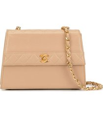 chanel pre-owned structured chain crossbody bag - neutrals