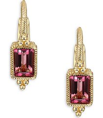 14k yellow gold & pink tourmaline drop earrings