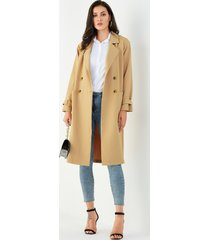 yoins khaki pocket diseño abrigo de manga larga con cuello de muesca