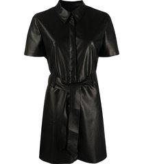 nanushka halli belted dress - black
