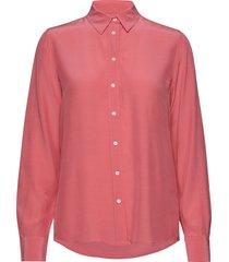 d1. solid crepe shirt overhemd met lange mouwen roze gant