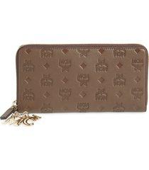 women's mcm klara leather zip wallet - brown