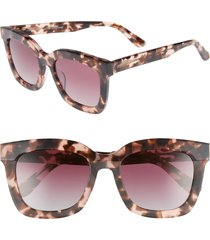 diff carson 53mm polarized square sunglasses in himalayan tortoise/rose at nordstrom