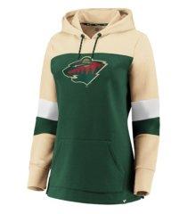 majestic minnesota wild women's colorblocked fleece sweatshirt