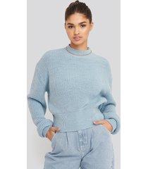 na-kd balloon sleeve ribbed sweater - blue