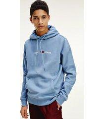 polerón de felpa con capucha y logo azul tommy jeans