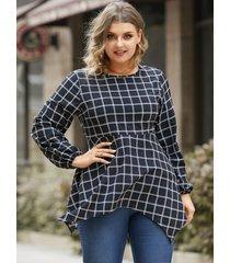 blusa de manga larga a cuadros con cuello redondo y talla grande