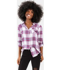 addison plaid button down top - red