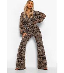 chiffon luipaardprint wikkel jumpsuit met wijde pijpen, brown