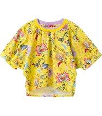 blouse short sleeve crew neck floral fantasy