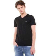 camiseta lacoste regular fit pima preta