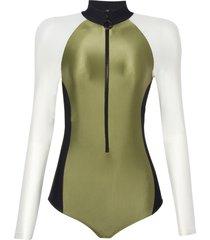 body rosa chá olivia sporty beachwear verde feminino (capulet olive, gg)