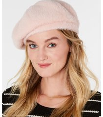 inc solid faux-fur beret, created for macy's