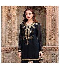 beaded tunic, 'sheer dazzle in black' (india)
