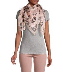 alexander mcqueen women's skull-print silk scarf - shell