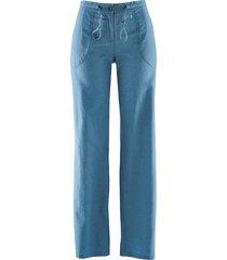 pantaloni in misto lino a gamba larga (blu) - bpc bonprix collection