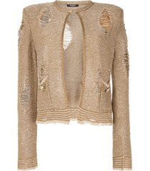 balmain ripped sequin embroidered tweed jacket - brown