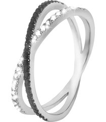 anello in argento 925 e zirconi bianchi e neri per donna
