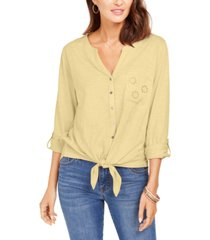 style & co petite cotton embroidered tie-hem shirt, created for macy's