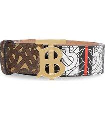 burberry monogram print logo buckle belt - brown