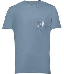 gap logo pocket t-shirt t-shirts short-sleeved blå gap