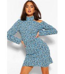bloemenprint mini jurk met open schouders, blauw