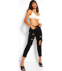 distressed mom jeans met hoge taille, zwart
