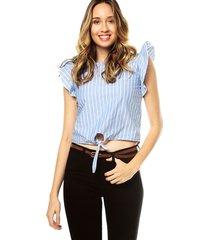 blusa azul rayas bolero