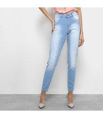 calça jeans cigarrete sawary cintura média feminina
