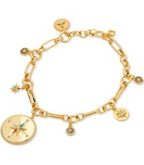 kate spade new york gold-tone pave & semiprecious gemstone compass charm bracelet