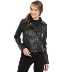 chaqueta jacqueline de yong ilde short faux negro - calce ajustado