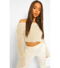 rib stripe off the shoulder sweater, stone