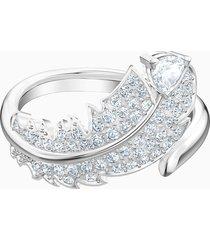 anello con motivo nice, bianco, placcatura rodio