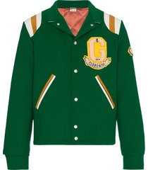 gucci tiger motif varsity jacket - green