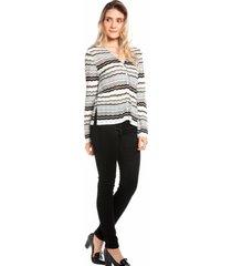 casaqueto ralm tricot listras preto - preto - feminino - dafiti