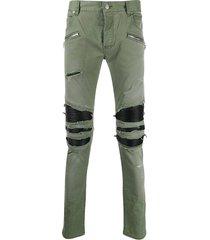 distressed khaki green pants