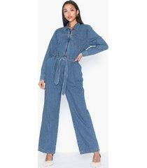 selected femme slfdana mid blue denim jumpsuit ex jumpsuits