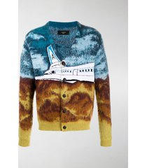 amiri airplane intarsia-knit cardigan