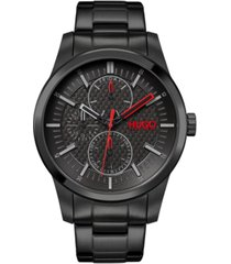 hugo men's #real black stainless steel bracelet watch 46mm