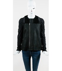 black leather & cotton shearling trimmed zip up jacket